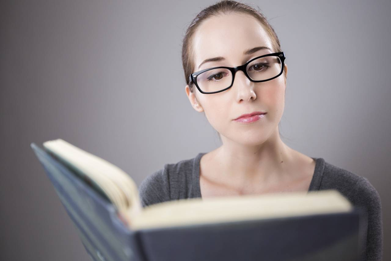 Woman Glasses Reading Book 1280x853
